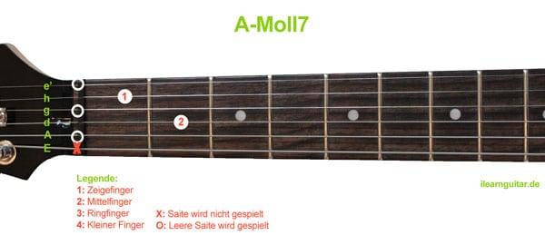 A-Moll7 Akkord Gitarrengriff