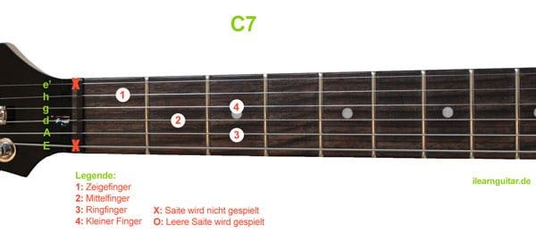 C7 Akkord Gitarrengriff