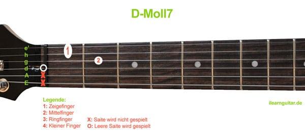 D-Moll7 Akkord Gitarrengriff
